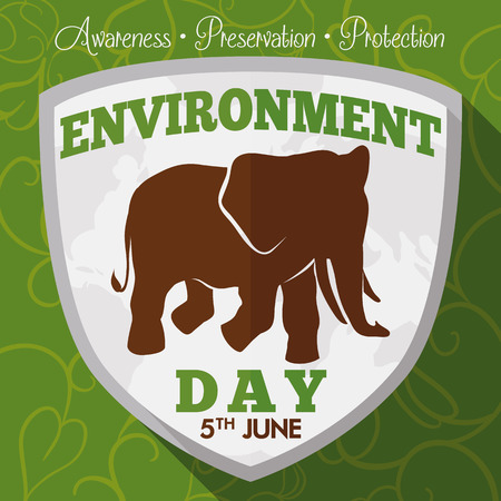 Poster with leaves background and shield with Earth map and elephant silhouette for World Environment Day celebration.