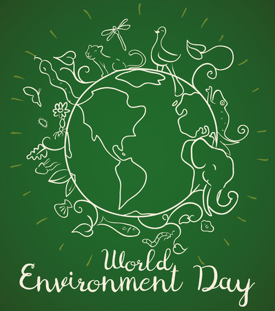 Poster in line style with view of Earth planet flora and fauna, commemorating World Environment Day in green background.