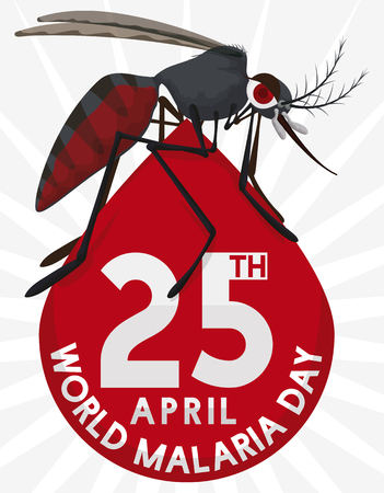 Poster with mosquito standing in the top of a blood drop with reminder date for World Malaria Day in April 25. Illustration