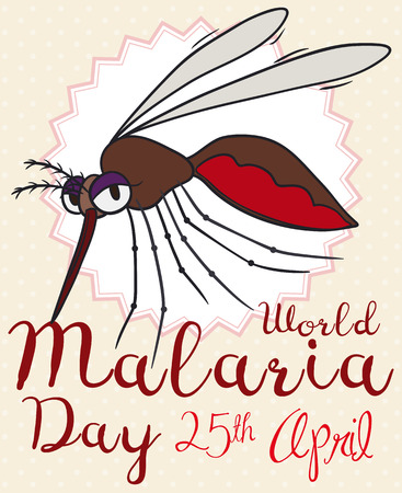 Commemorative cartoon poster for World Malaria Day with reminder date and female mosquito over dotted background.