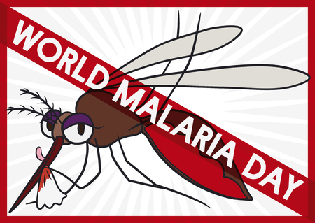 Mosquito Full of Blood with Forbidden Sign in Malaria Day, Vector Illustration Illustration