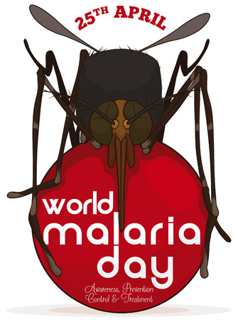 Poster with mosquito over a red bloody rounded button to commemorate World Malaria Day in April 25.