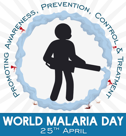 Commemorative poster for World Malaria Day with icon man silhouette using a fogger machine to stop malaria transmitters: mosquitoes.