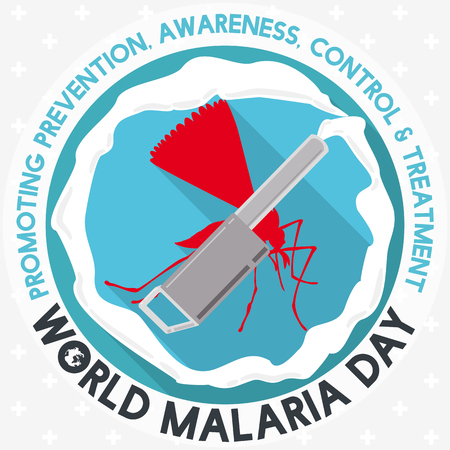 Poster promoting prevention and control against malaria fumigating brooding areas of mosquito in World Malaria Day commemoration. Ilustração