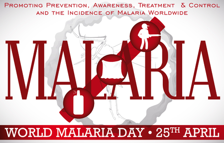 Poster with some elements to fight malaria vectors: repellent, mosquito net, insecticide and fumigation activities to prevent this disease.