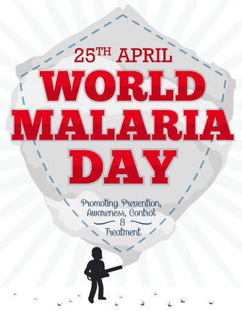 Poster with fumigator man silhouette doing a shield shape, dead mosquitoes, reminder date and some precepts to commemorate World Malaria Day.