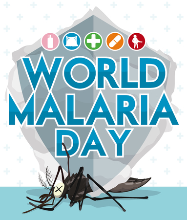 Poster with design for World Malaria Day with fumigation smoke and other icons promoting prevention, control and treatment of this disease.