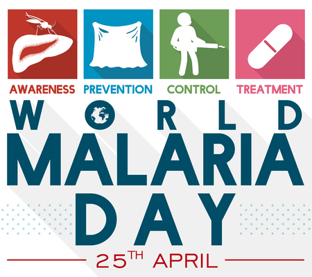 Poster with illustrated precepts to celebrate World Malaria Day: awareness, prevention, control and treatment in flat style and long shadow.