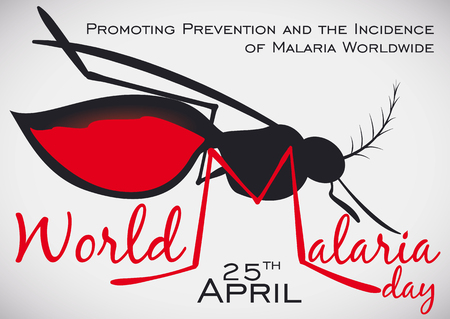 Commemorative poster for World Malaria Day with mosquito silhouette, promoting the awareness and importance of prevention of Malaria disease worldwide.