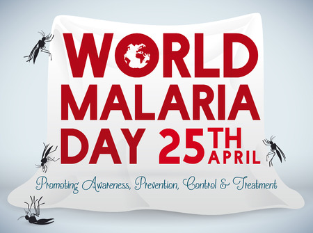 Poster with a white mosquito net, like a way of prevention in World Malaria Day celebration. Illustration