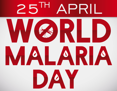 Commemorative loose-leaf calendar with red typography, forbidden mosquito and blood drops with plasmodiums and reminder date for World Malaria Day in April 25. Illustration