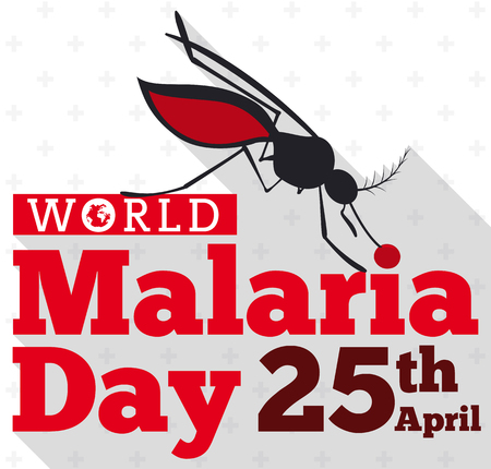Commemorative poster with mosquito silhouette in flat style and long shadow effect biting the World Malaria Day sign.