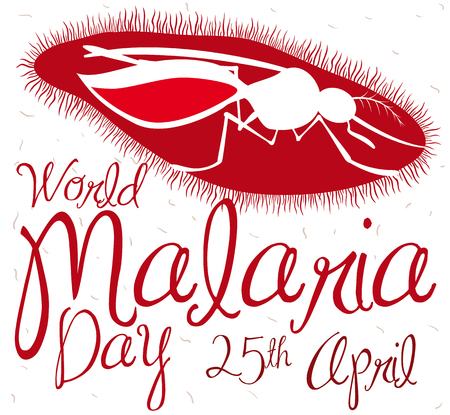 Poster with design of a infected mosquito with malaria plasmodium parasite, promoting awareness of this disease in World Malaria Day.