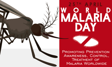 Promotional banner for World Malaria Day with mosquito and red sign with plasmodium parasite silhouette. Illustration