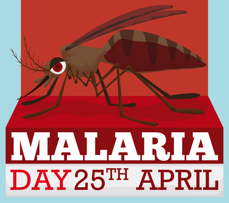 Cartoon poster with reminder date and female mosquito design for World Malaria Day.