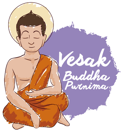 Poster with seated Buddha meditating and touching earth with right hand in watercolor style in design to celebrate Vesak. Illustration