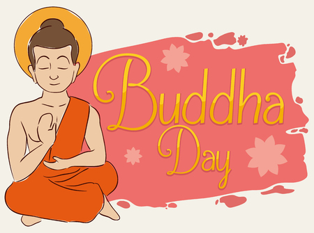 Commemorative design for Vesak or Buddha, with him meditating next to brushstroke and golden greeting text.