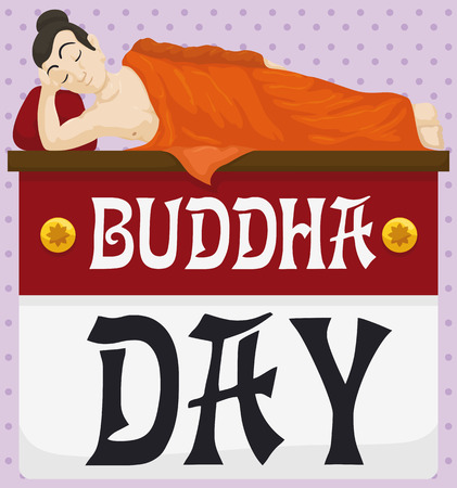 Poster with Buddha lied down over a loose-leaf calendar and dotted background reminding you the Buddha Day (also called Vesak). Çizim