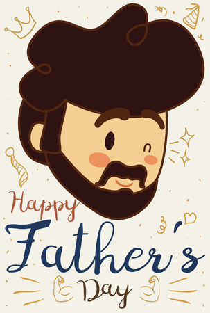 Poster with cute dad face winking at you in Father's Day celebration and some cute childish doodle drawings around him.
