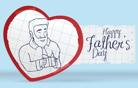 Postcard with a dad with a gift in doodle style inside a paper heart to celebrate Father's Day. Illustration