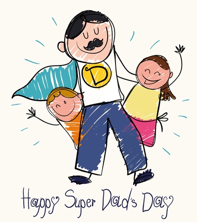 Children draw for Father's Day  with a super dad with moustache and cape with son and daughter in doodle style. Ilustração