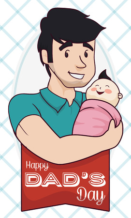 Young dad with stubble beard holding in arms his Baby in Fathers Day.