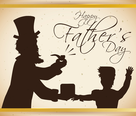 Retro poster of elegant lord dad being surprised by son with a classic pipe gift in Fathers Day.