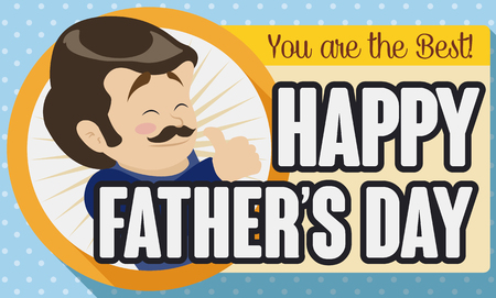 Special greeting card with cute smiling dad design for Fathers Day celebration.