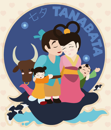 Cute family with their children, ox and magpies celebrating Tanabata (or Evening of the seventh) Festival at night. Illustration