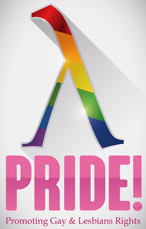 Commemorative design for Gay Pride celebration with pink lambda letter with rainbow colors inside, promoting equality rights. Illustration