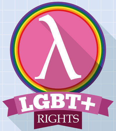 Flat design with pink round button and lambda symbol inside of it decorated with a rainbow ribbon for LGBT rights and Gay Pride event. Ilustração