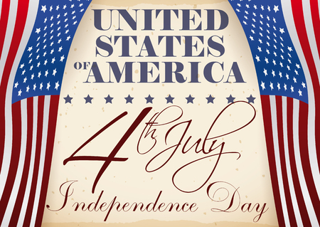Poster with Independence Day reminder date with a beautiful handwritten message and some patriotic American flags like curtains at both sides of the message.