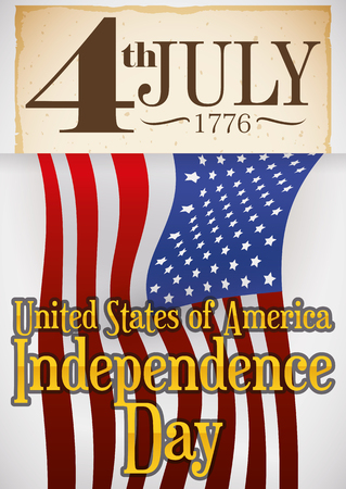 Poster with reminder date written in a old scroll, holding an U.S.A. flag for Independence Day celebration in July 4.