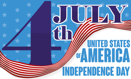 Promotional banner reminding at you the U.S.A. Independence Day date with a waving stripped flag.