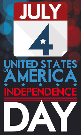 Patriotic design in flat style with loose-leaf calendar and reminder date for American Independence Day with bokeh effect for fireworks in the background.