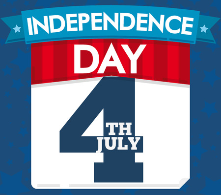 Poster in flat style with loose-leaf calendar with reminder date for U.S.A. Independence Day celebration, decorated with a blue ribbon and starry background. Çizim
