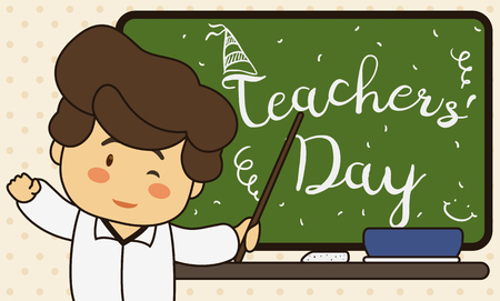 Banner with cute educator celebrating Teachers Day with his students and greeting message in the chalkboard.