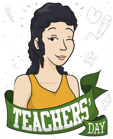 Poster with beautiful female educator celebrating Teachers' Day behind a greeting ribbon and doodle drawings around her made by her students.