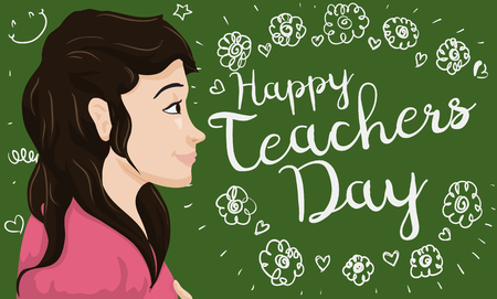 Banner with beautiful moved teacher seeing a greeting floral sign doodles in the chalkboard for her in Teachers' Day celebration.
