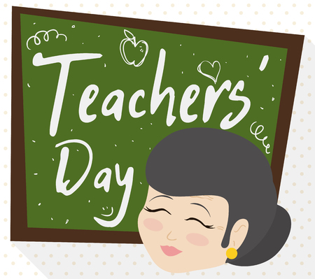 Poster in flat style and long shadow with a female senior educator and chalkboard with doodles and greetings to celebrate Teachers' Day.