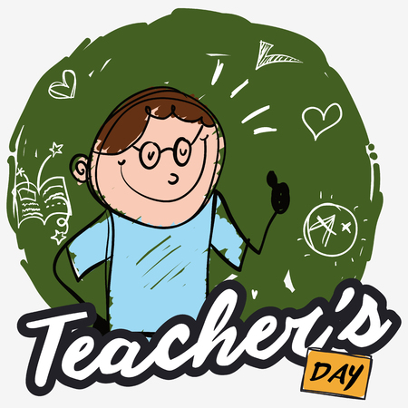 Poster in doodle style with a smart educator over chalkboard with drawings celebrating Teachers' Day.