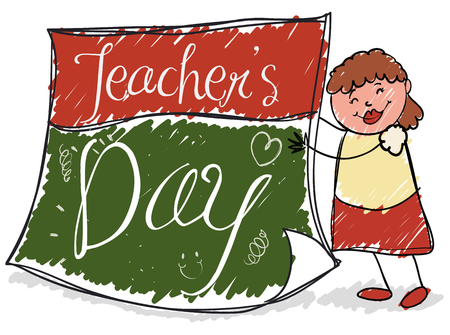 Poster with a cute female educator in doodle style holding a loose-leaf calendar paper like chalkboard with drawings to celebrate Teachers' Day. Çizim