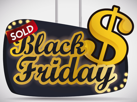 Promotional sign for Black Friday with golden money symbol and label. Ilustração