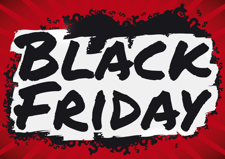 Poster with red background, black paint spot with money symbols and brushstroke sign announcing a savage Black Friday sales.
