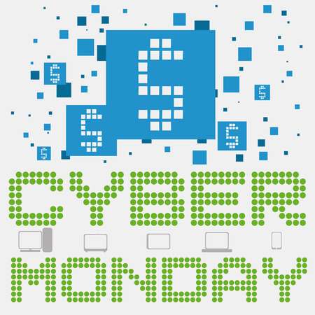 Poster with money symbol in squares, digital sign in pixels and some technology gadgets for Cyber Monday sales. Vettoriali