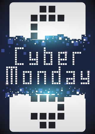 Poster with giant broken tag with money symbol and sign in pixel art promoting Cyber Monday sales.