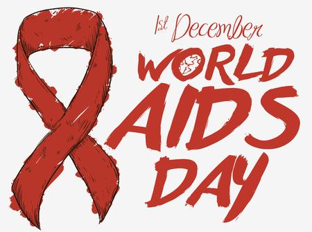 Poster mit rotem Band im handgezeichneten Stil und mit einem Marker bemalt zum Gedenken an den Welt-AIDS-Tag.