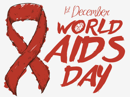 Poster with a red ribbon in hand drawn style and painted with a marker to commemorate World AIDS Day.