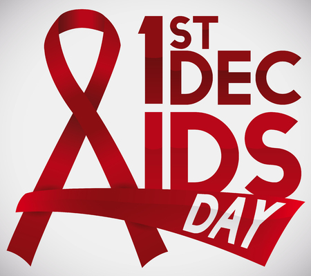 Poster with ribbons like letter A with glossy text and greeting sign for World AIDS Day over a white background. Vettoriali