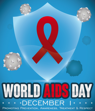 Poster with ribbon inside a glowing shield, promoting awareness and prevention against HIV virus in World AIDS Day commemoration.